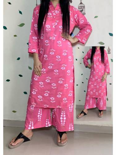 Capricious Pink Color Festive Wear Rayon Hand Printed Full Stitched Kurti Plazo