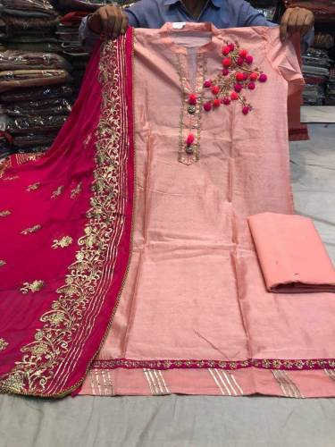 All Chanderi Silk Hand work Semi Stitched Dress Material For Women