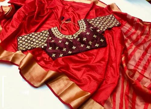 Paty Wear New Red Color Pure Tusser Silk Saree Design Online