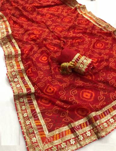 Function Wear Red Color Bandhani Georgette Saree Blouse