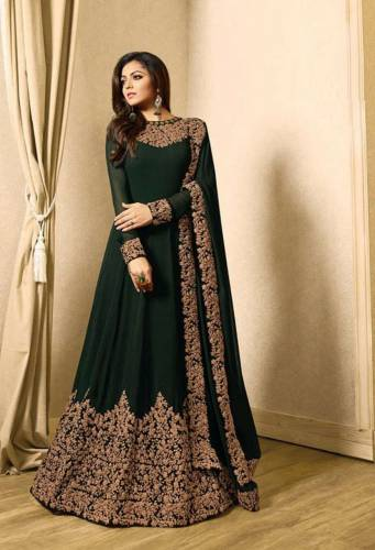 Dark Green Faux Georgette With Embroidery Floor length Anarkali Suit