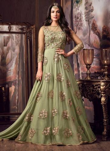 Active Pista Color Net with Heavy Embroidery Long Anarkali Dress For Women