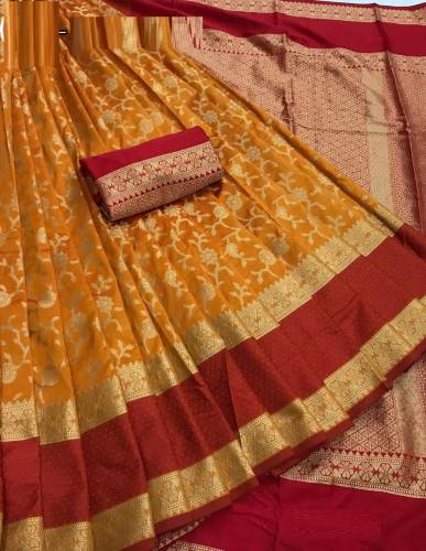 Amazing Wedding wear Orange Color Heavy Lichi Banarasi Silk Saree