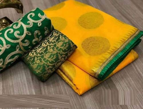 Amazing Yellow Colour Heavy Chanderi silk saree with blouse