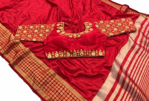 Function Wear Red Color Pure Tusser Silk Saree Design Online