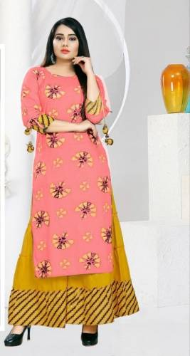 Brilliant Frenchrose Color Rayon Stone Work Printed Full Stitched Plazo Kurti For Function Wear
