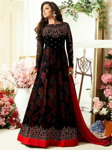 EthanicWear Black Georgette Embroidered Work Semi-Stitched Anarkali Salwar Suit