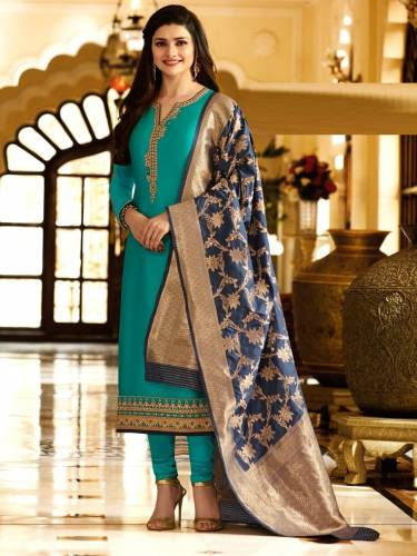 Ethanic Wear New Blue Satin Georgette Embroidered Work Straight Cut Salwar Suit