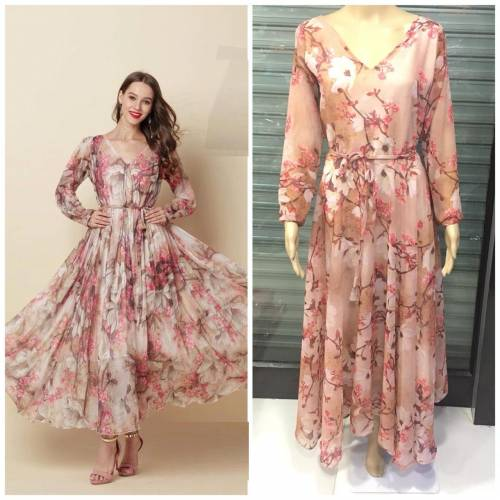 Light Peach Color Gerogette Printed Readymade Gown Type One piece