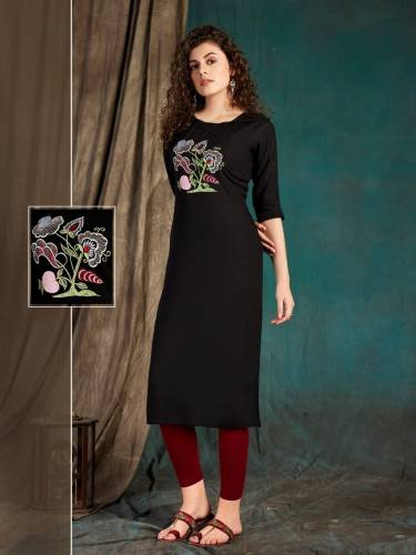 Capricious Black Color Party Wear Embroidered Work Fancy Slub Rayon Ready Made Kurti For Women