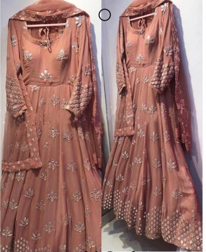 Party wear English Color Embroidered Readymade Gown with Dupatta No Bottom