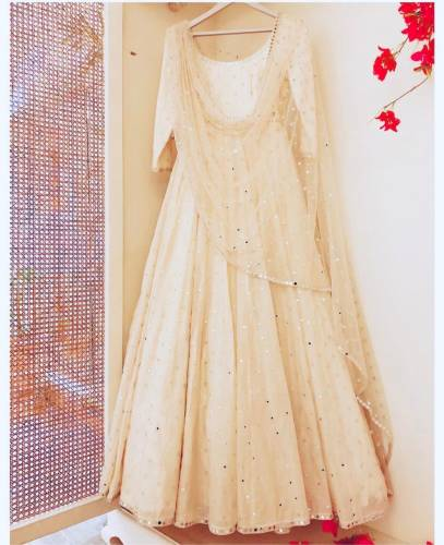 Distinguished White Color Taffeta Silk Stitched Gown with Mirror Work Net Dupatta