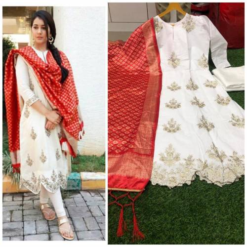 Cotton Embroidered Fully Stitched Top with Print Dupatta Dress Material