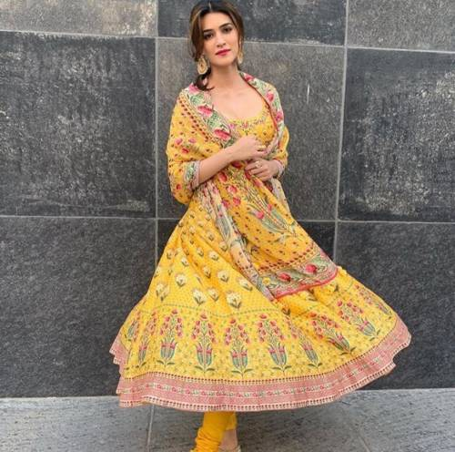 Awesome Yellow Printed Crep Silk Dress Material Design For Function