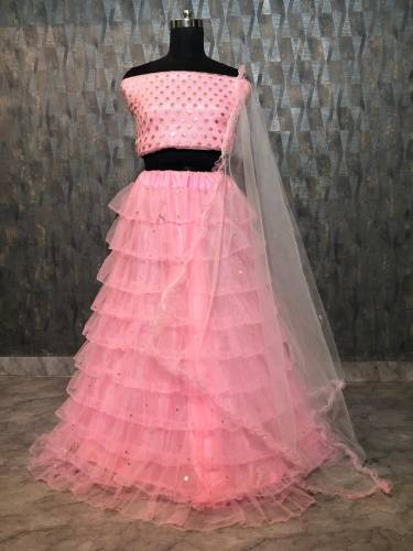 Baby Pink Desginer Mono Net Lehenga Choli Design For Function
