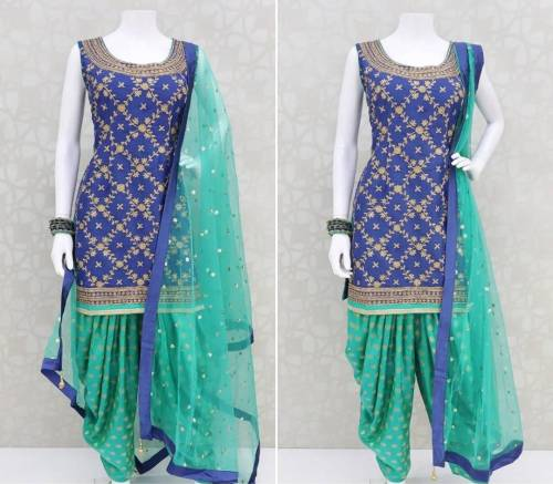 Beautiful Blue Color Poly Rayon Embroidered Work Digital Printed Full Stitched Patiyala Salwar Suit For Wedding Wear