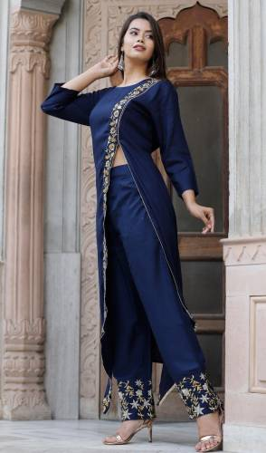 Sensational Navy Blue Color heavy Rayon Embroidered Work Kurti And Party Wear Rayon Embroidered Work Plazo Full Stiched For Party Wear VT3051101A