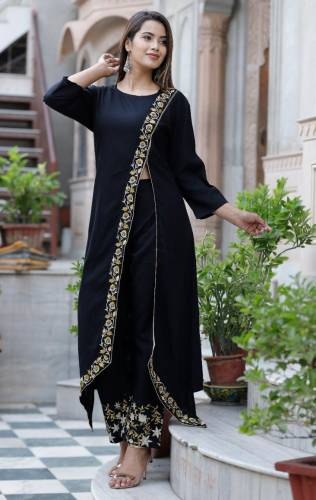 Dazzling Black Color Rayon Kurti With Heavy Embroidered Work Plazo Set For Function Wear VT3051101B Plazo