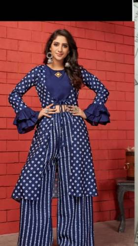 Trendy Blue Cotton With Digital Print Cotton Kurti With Shrug And Plazo For Party Wear aryadressmaker107E