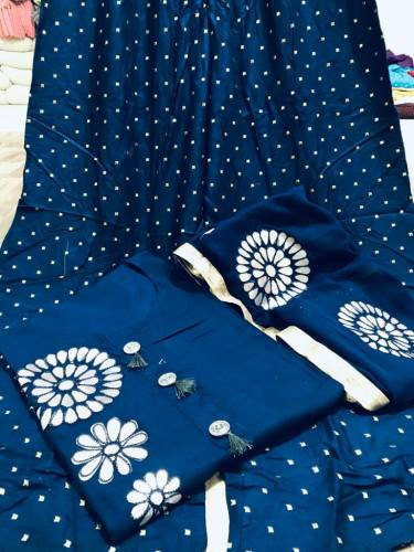 Trendy Blue Cotton Rayon Kurti And Ready Made Plazo For Women VT3034108D