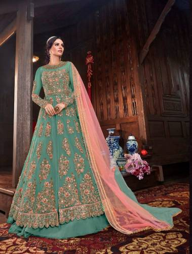 Alluring Firozi Color Heavy Butterfly Net Multi Zari Sequence Codding Embroidered Stone Mirror Work Salwar Suit For Wedding Wear