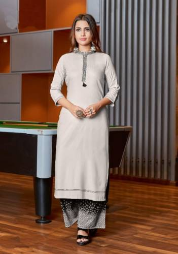 Trendy White Heavy rayon Print With Embroidered Work Kurti And Plazo Ready Made For Women SHIV103D