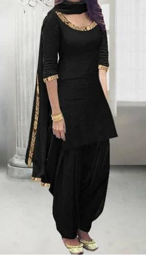 Glowing Black Color Rayon Embroidered Zari Work Salwar Suit For Festive Wear