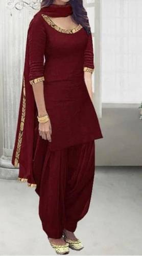 Lovely Maroon Color Zari Embroidered Work Rayon Salwar Suit For Women