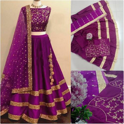 1Purple Color Taffeta Silk Embroidered Semi Stiched Lehnga