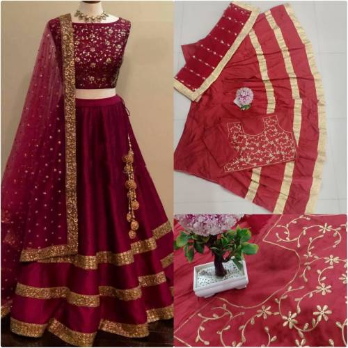 Unique Maroon Color Taffeta Silk Embroidered Semi Stitched Lehenga