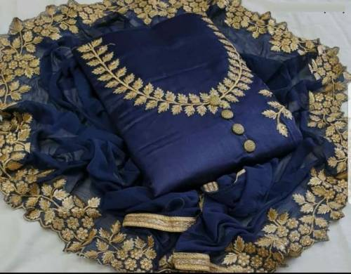 Blue Colour Cotton Silk Embroidered Dress material