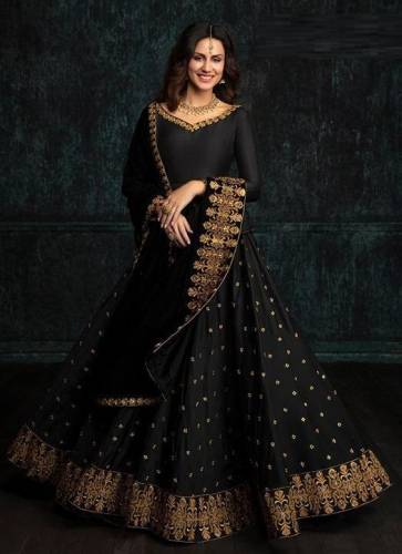 Adorable Wedding Wear Black Color Tapeta Silk with Embroidery Lehenga