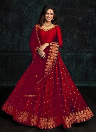 Dashing Red Color Party wear Tapeta Silk with Embroidery Lehenga