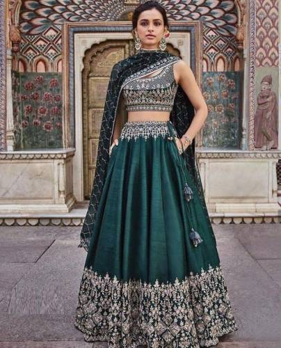 Amazing Green Color Latest Taffeta Silk Bollywood Style Lehenga Choli