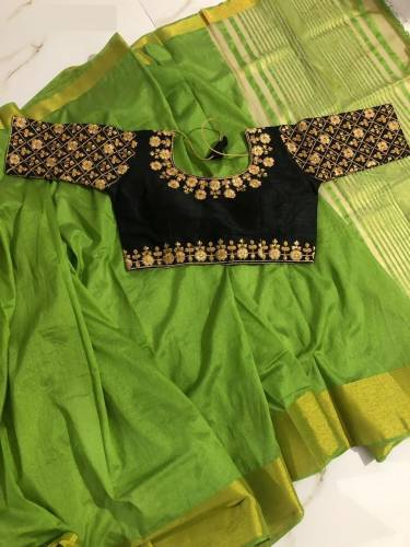 Party Wear New Parrot Color Pure Tusser Silk Saree Blouse