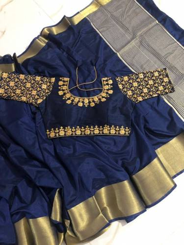 Function Wear Black Color Pure Tusser Silk Saree Blouse