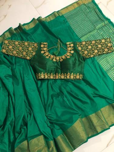 Function Wear Green Color Pure Tusser Silk Saree Blouse
