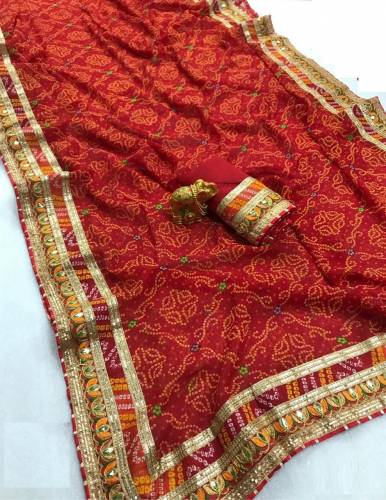 Function Wear Red Color Georgette Saree Design Online