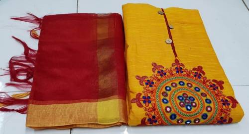 Yellow Slub Cotton Gamathi Work Salwar Suit Material