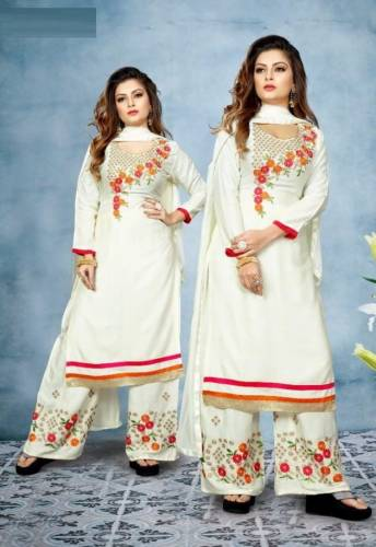 Wonderful White Color Stitched Embroidered Rayon Kurta With Work Plazo