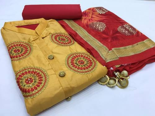 Yellow Color Cotton Satin Embroidered Work Salwar Suit With Red Dupatta