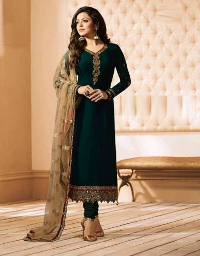 Dark Green Georgette with Embroidered  Salwar Suit For Women