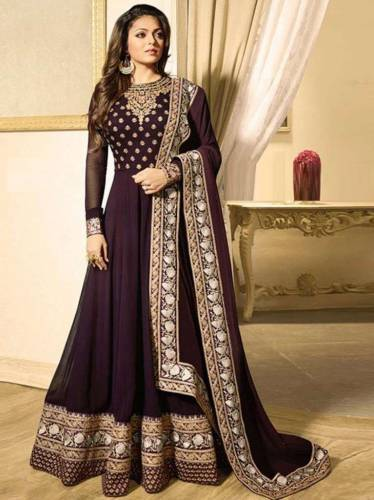 Dark Chocalate Color Faux Georgette Embroidered Work Semi-Stitched Anarkali Salwar Suit