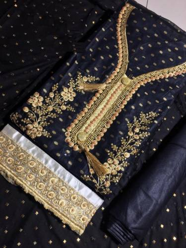 Black Color Cambric Cotton with Embroidery Moti Work Salwar Suit