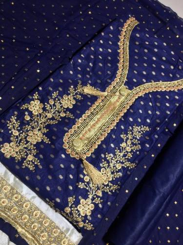 Beautiful Navy Blue Cotton with Embroidery Moti Work Salwar Suit