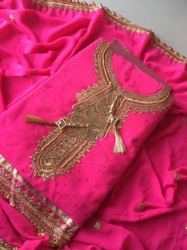 Beautiful Pink Faux Georgette with Embroidery Salwar Suit