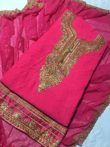 Beautiful Pink Georgette with Embroidery Salwar Suit