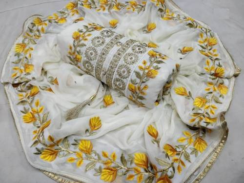 Admirable White Yellow Chanderi Silk Dress Material For Women