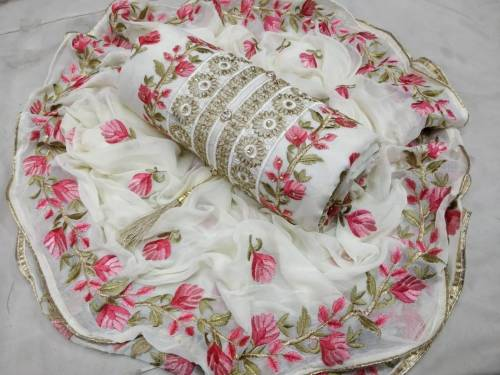 Awesome White Chanderi Silk With Pink Embroidred Flower Work Dress Material