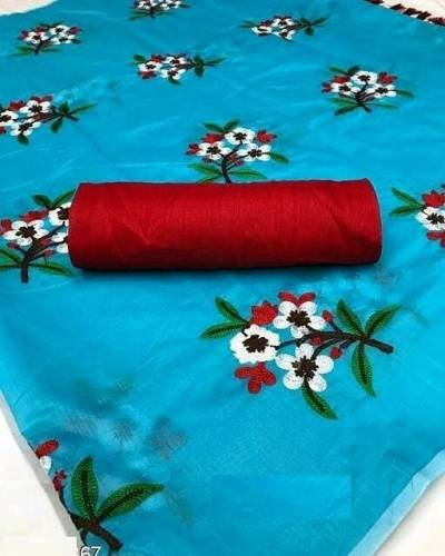 Chanderi Cotton SkyBlue Colour Saree With Embrodiery Work